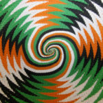 Close-up of the inside of my Animals Asia telephone wire basket. The chevron pattern changes into a square spiral at the base.