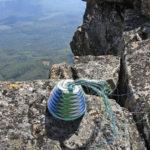 Telephone-wire basket in progress, on the dolerite rocks of the peak of Mt Field West, Tasmania.