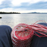 A rather blurry picture of my outlook from my weaving spot. The basket is in focus but the seascape in the background isn't.