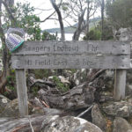 Wire basket in progress, poised on a bushwalking track sign that reads Seagers Lookout 1hr, Mt Field East 2 hrs